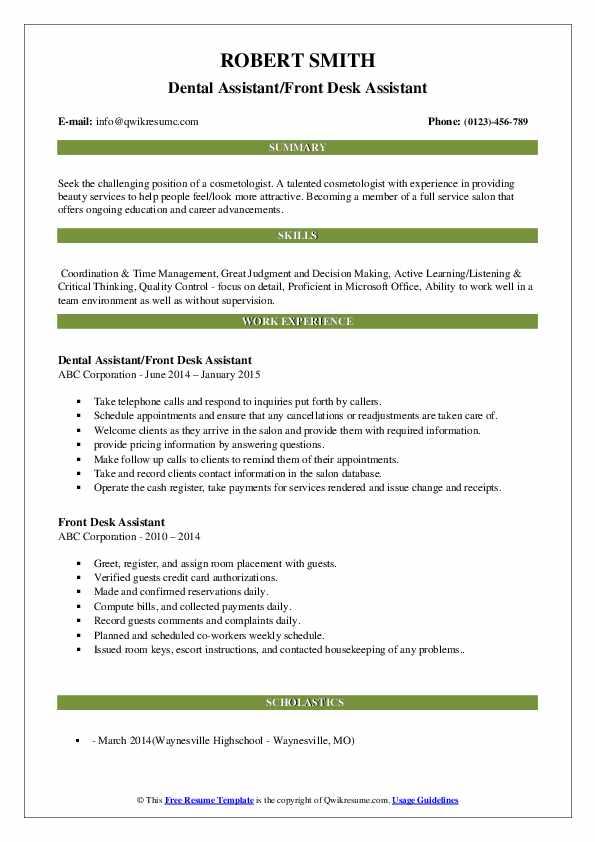 Dental Assistant/Front Desk Assistant Resume Format