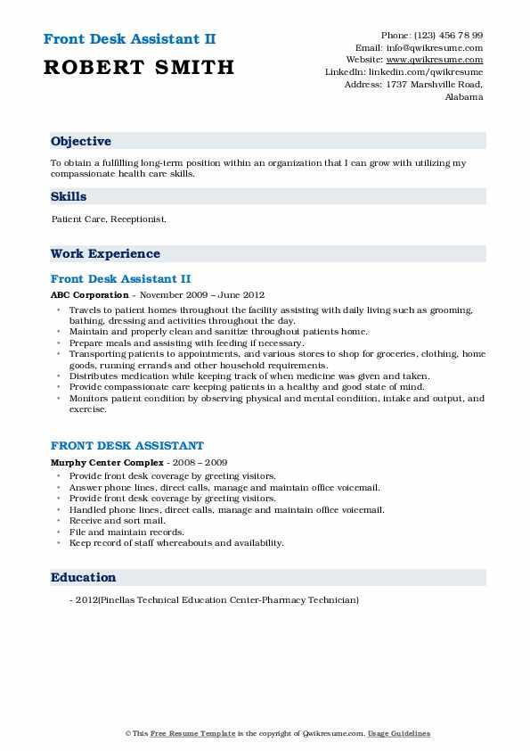Front Desk Assistant II Resume Format