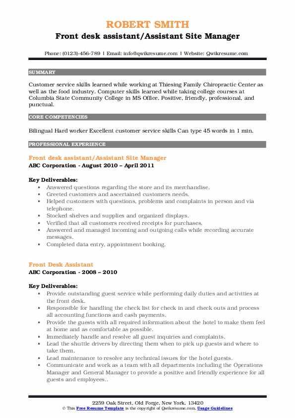 Front Desk Assistant Resume Samples | QwikResume