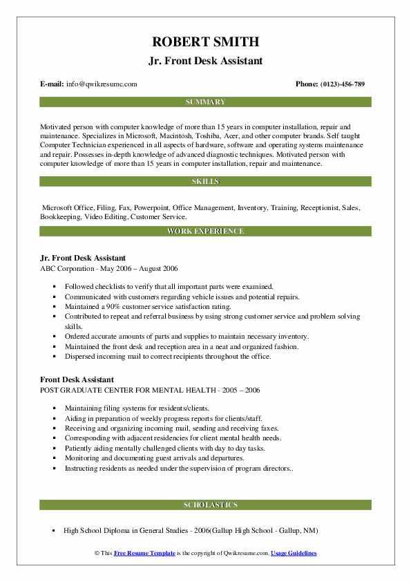 Jr. Front Desk Assistant Resume Format