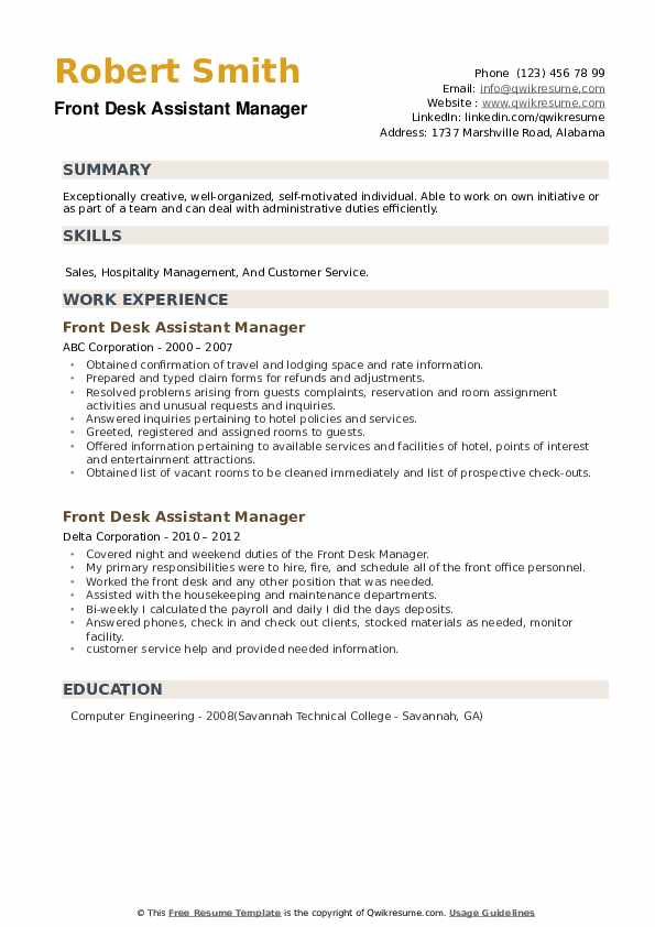 Front Desk Assistant Manager Resume example