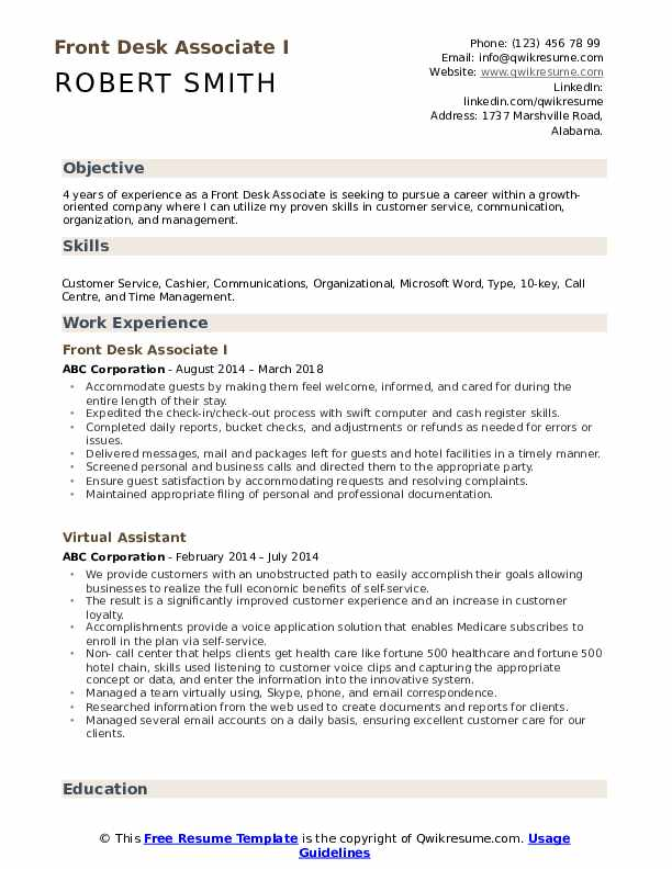 Front Desk Associate I Resume Template