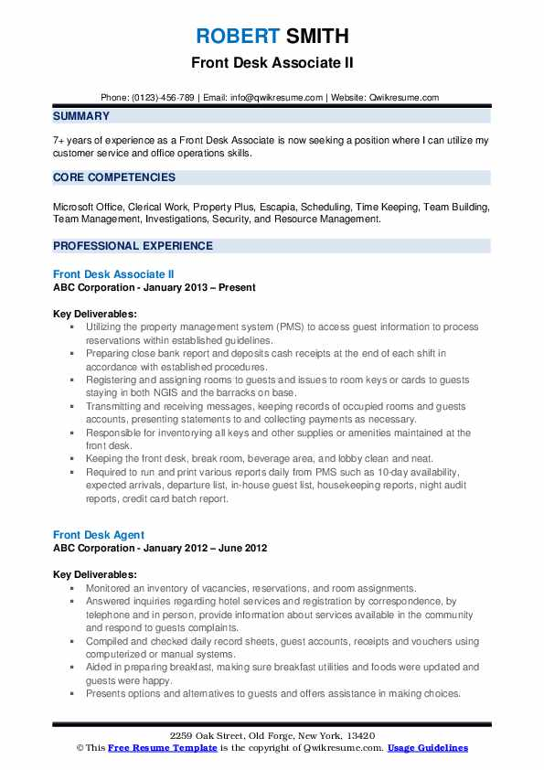 Front Desk Associate II Resume Model