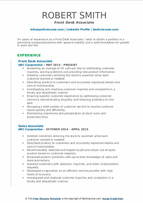 Front Desk Associate Resume Example