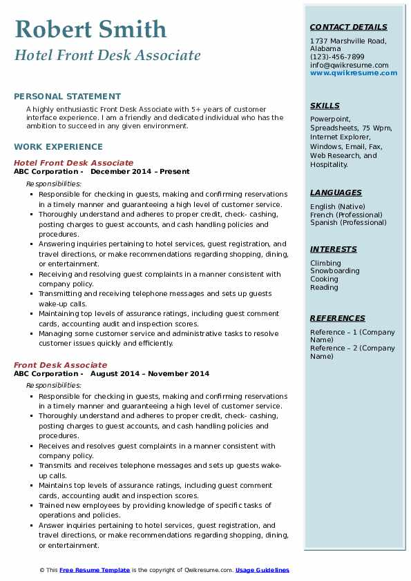 Hotel Front Desk Associate Resume Sample