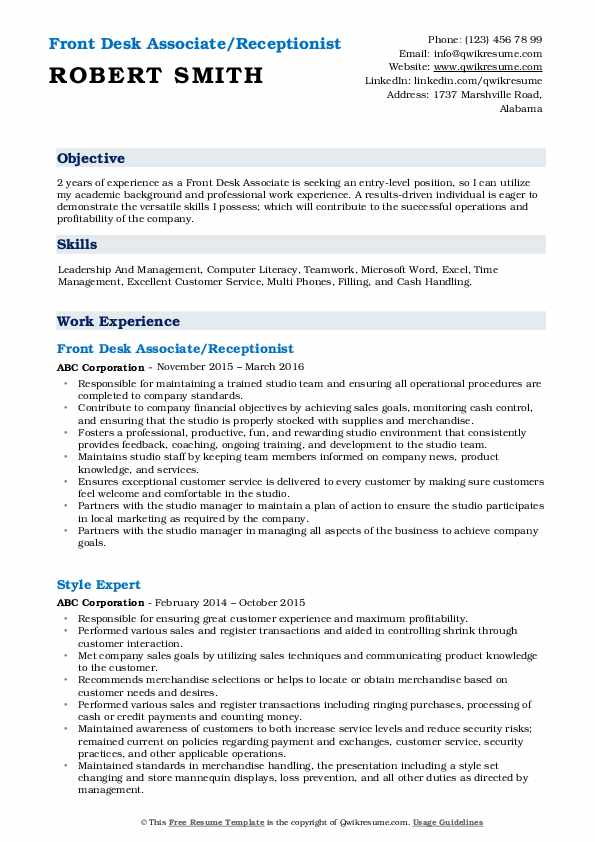 Front Desk Associate/Receptionist Resume Format