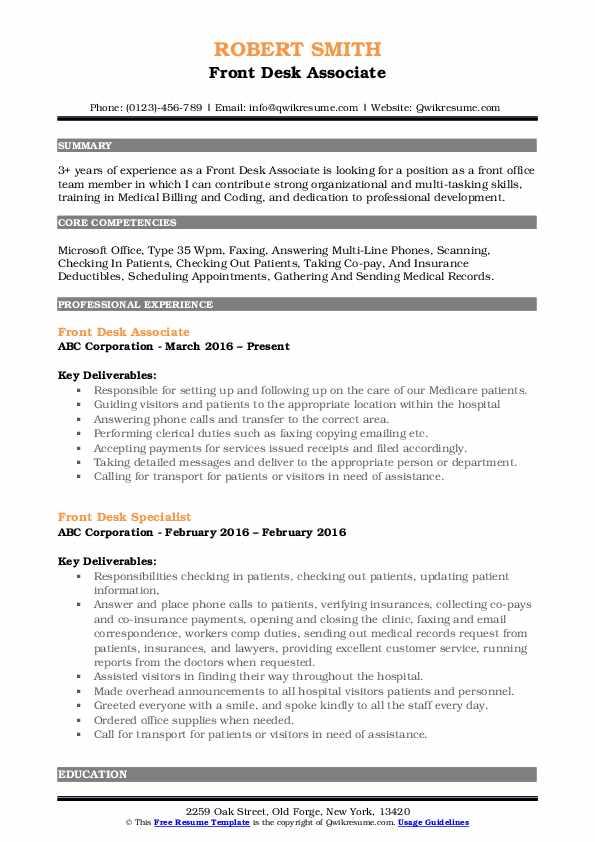 Front Desk Associate Resume Template