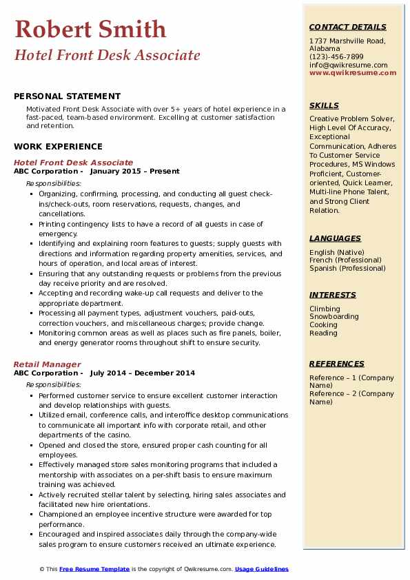 Hotel Front Desk Associate Resume Example