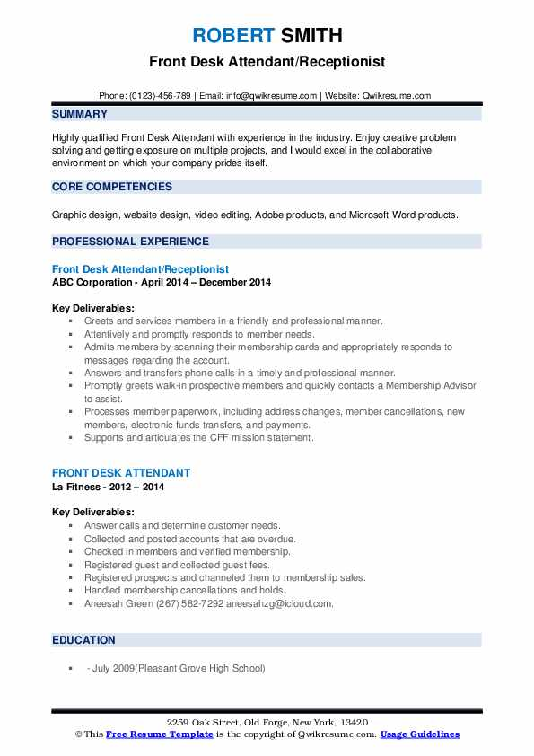 Front Desk Attendant/Receptionist Resume Model