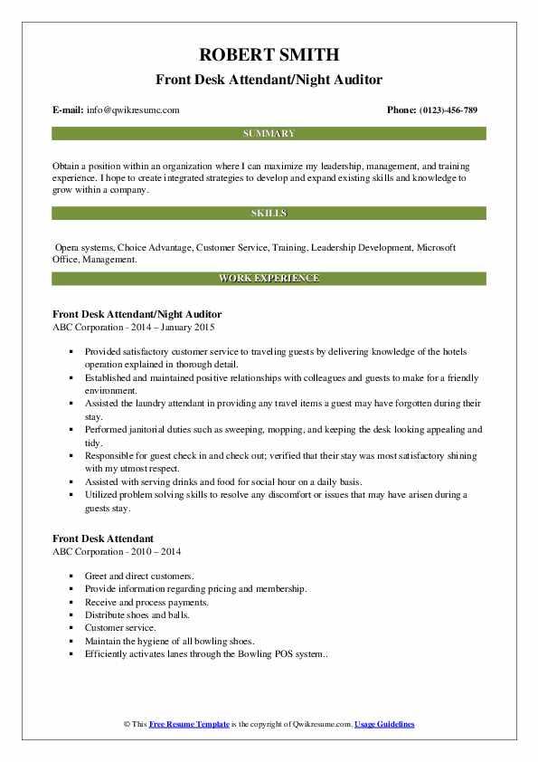 Front Desk Attendant/Night Auditor Resume Format