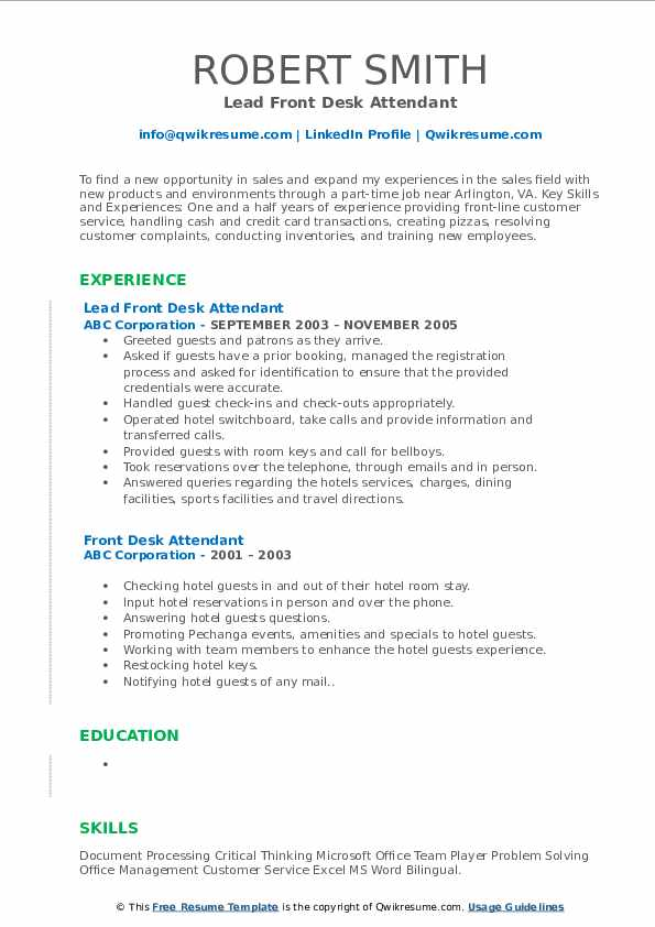 Lead Front Desk Attendant Resume Format