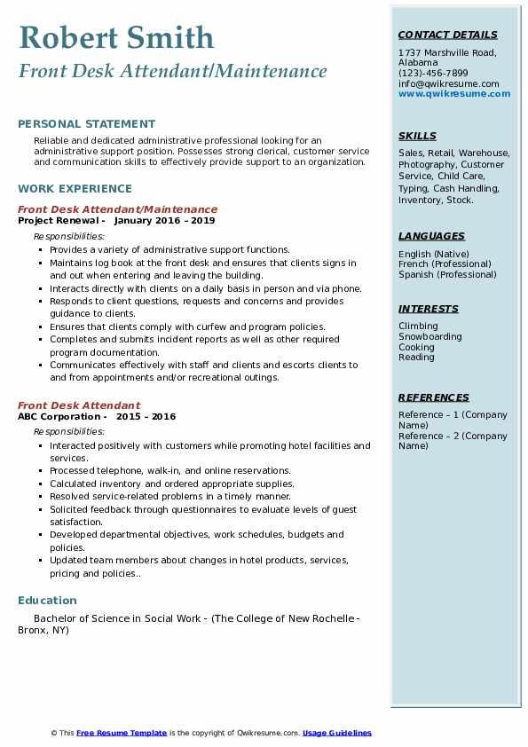 Front Desk Attendant/Maintenance Resume Format
