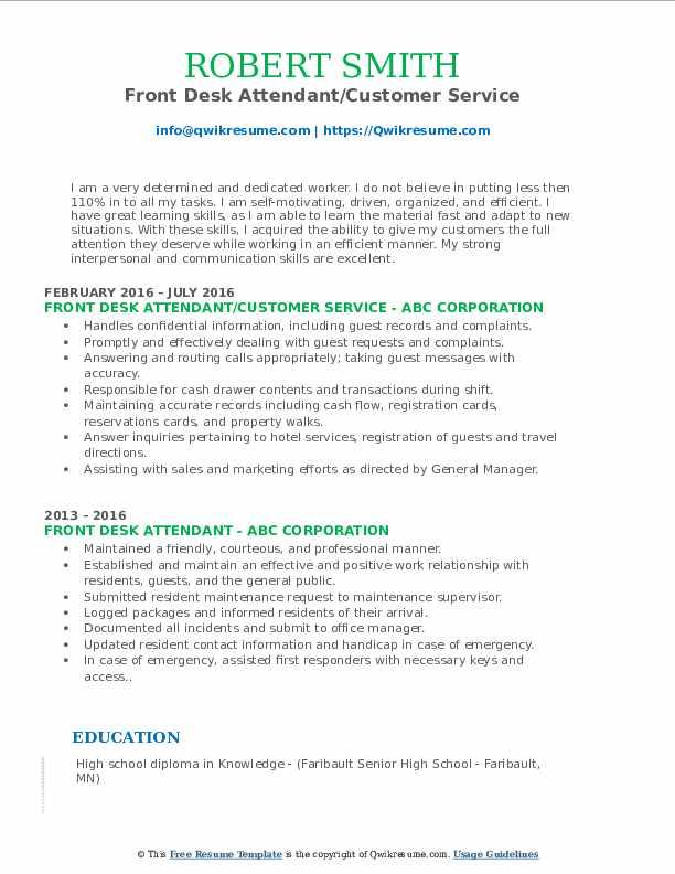 Front Desk Attendant/Customer Service Resume Format
