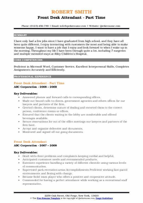 Front Desk Attendant - Part Time Resume Sample