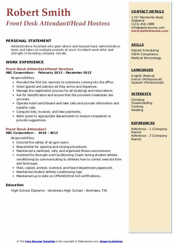 Front Desk Attendant/Head Hostess Resume Template
