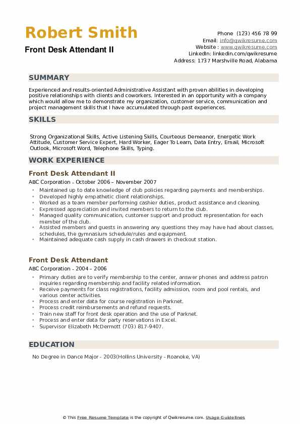 Front Desk Attendant II Resume Format