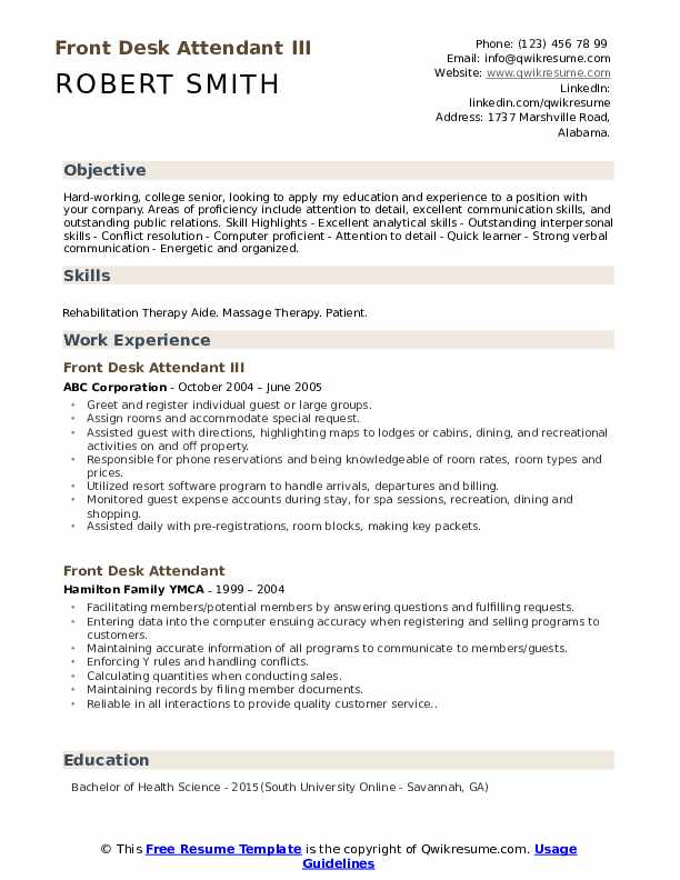 Front Desk Attendant Resume Samples | QwikResume