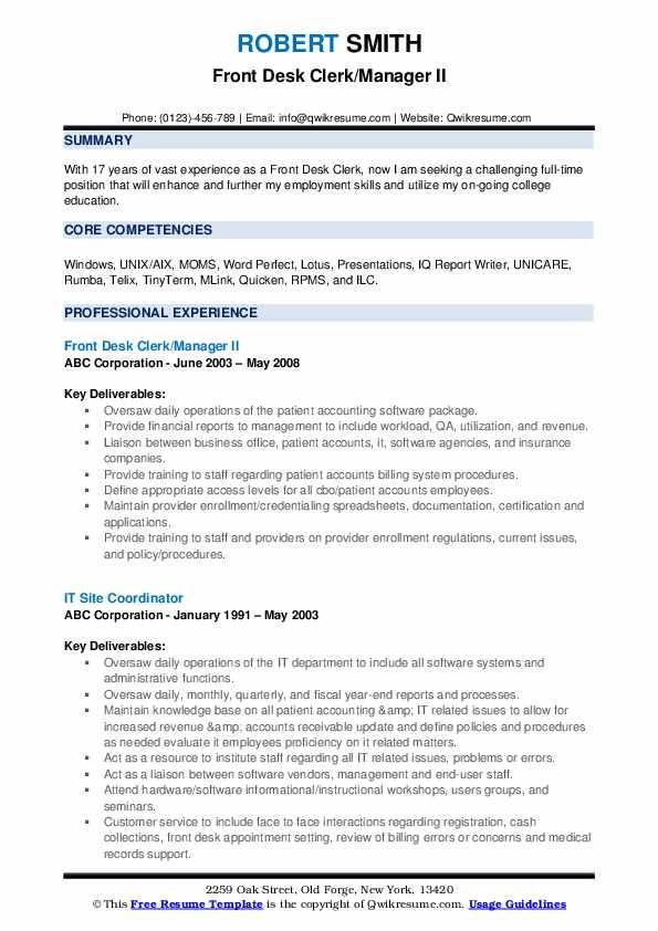 Front Desk Clerk/Manager II Resume Format