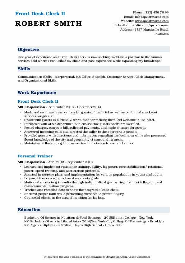 Front Desk Clerk II Resume Example