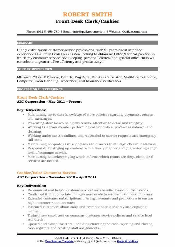 Front Desk Clerk/Cashier Resume Format
