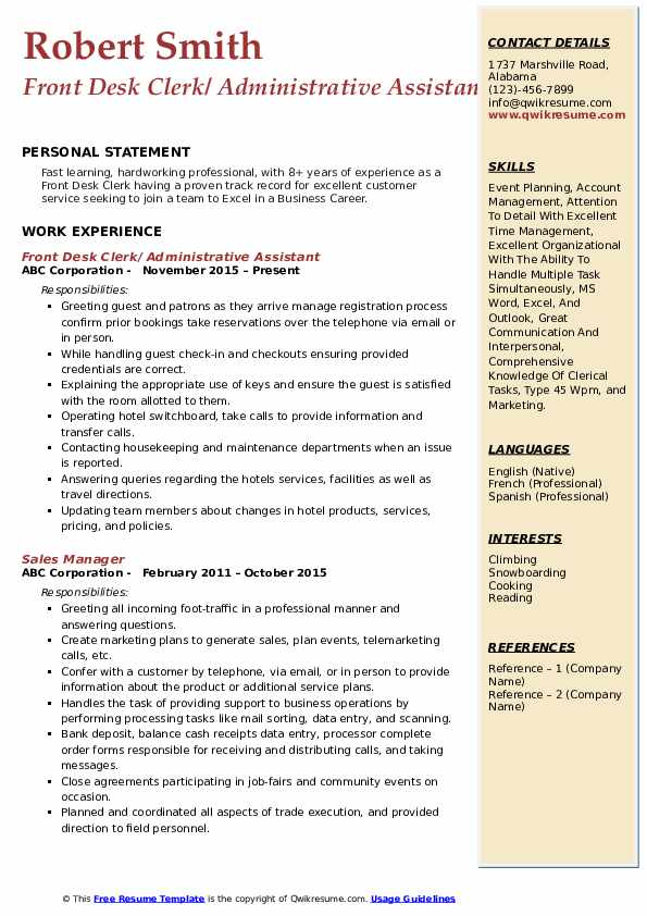 Front Desk Clerk/ Administrative Assistant Resume Sample