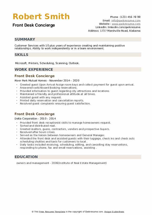 Front Desk Concierge Resume example