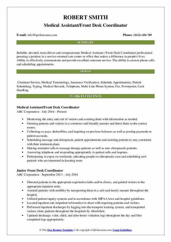 front desk coordinator resume samples