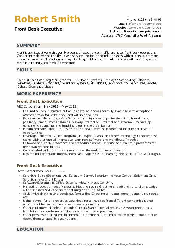 Front Desk Executive Resume example