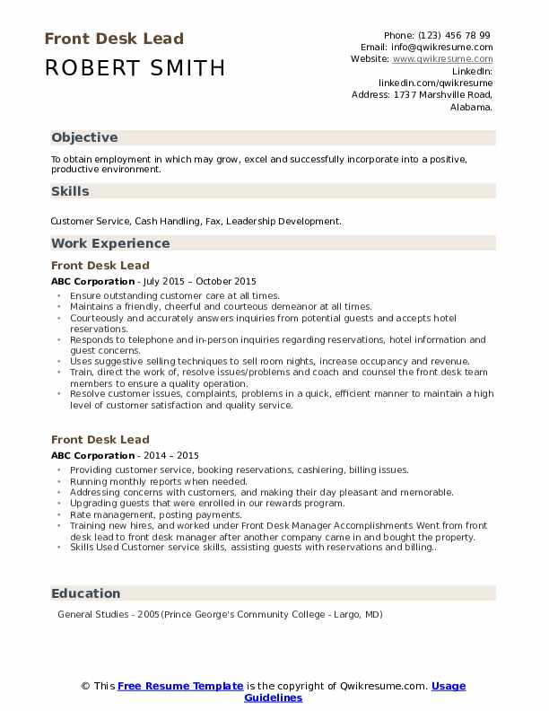 Front Desk Lead Resume Template