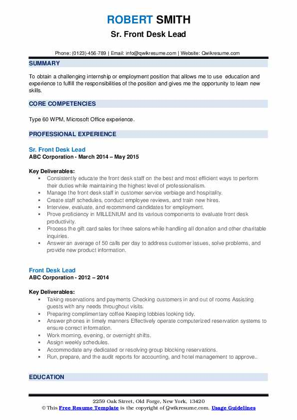 Sr. Front Desk Lead Resume Example
