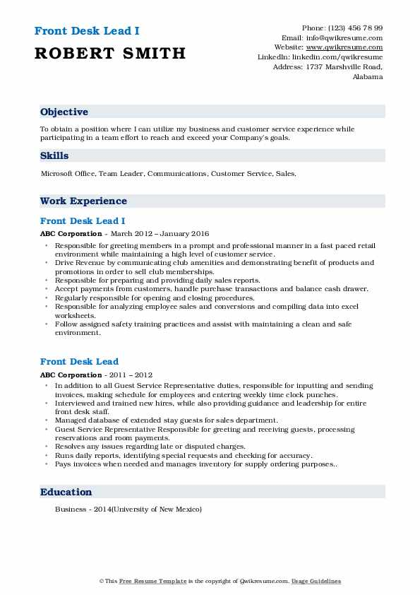 Front Desk Lead I Resume Template