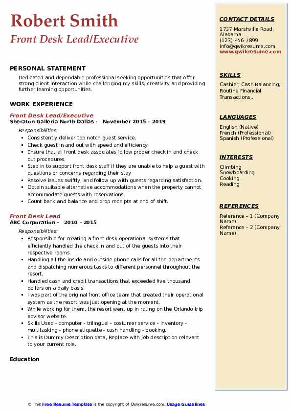 Front Desk Lead/Executive Resume Model