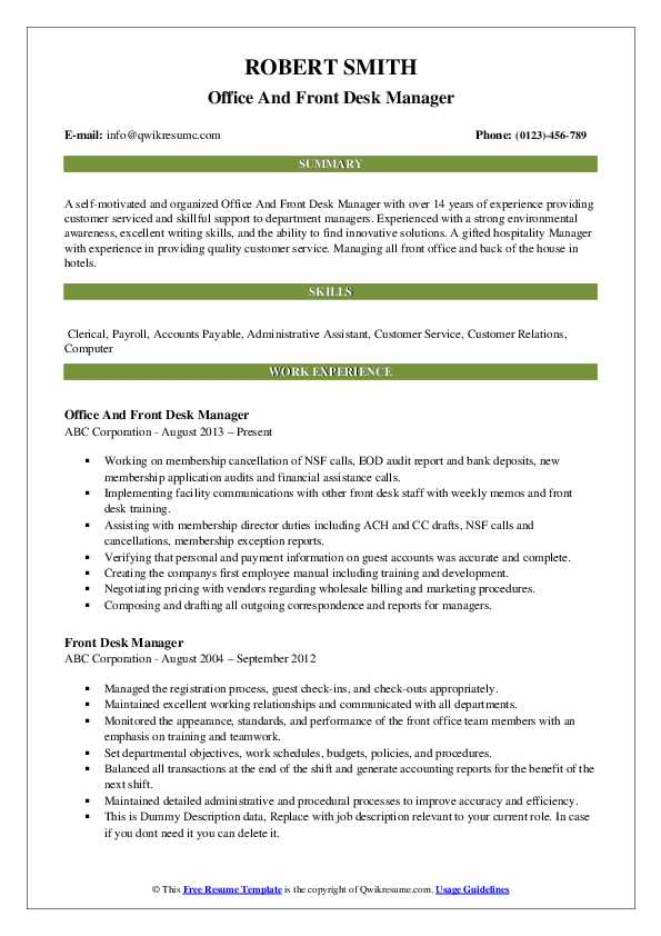 Office And Front Desk Manager Resume Example