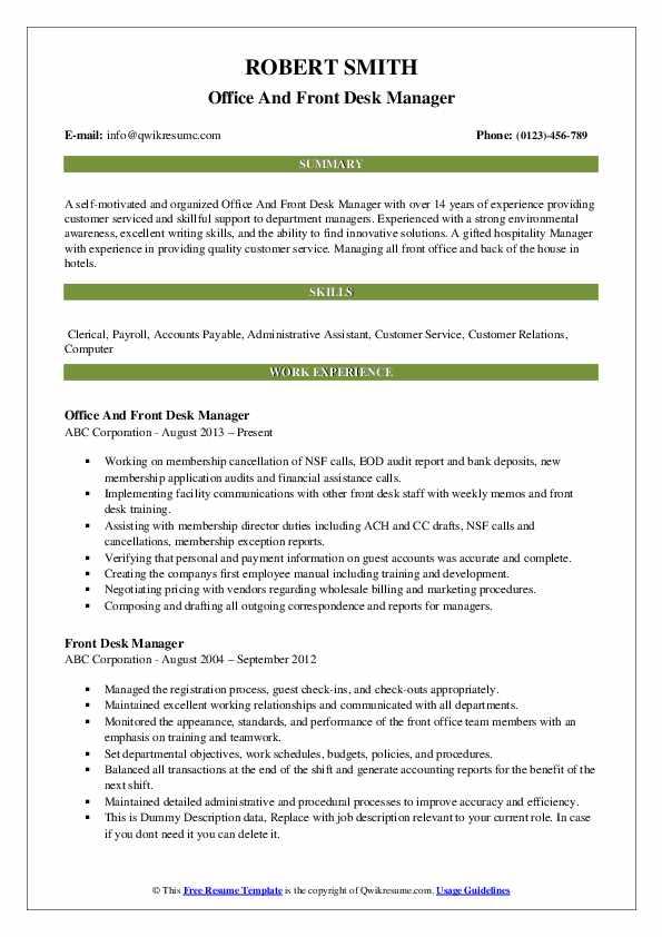 front desk manager resume samples