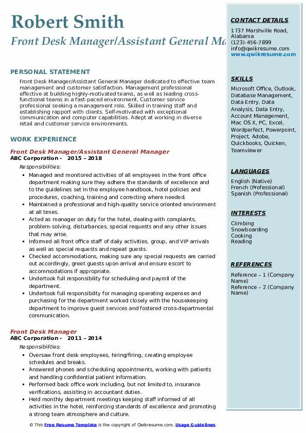 Front Desk Manager/Assistant General Manager Resume Example