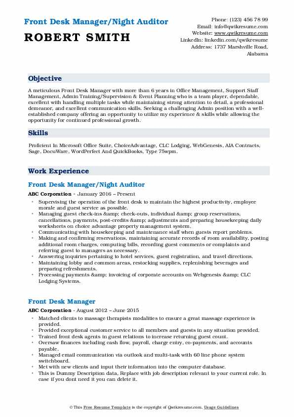 Front Desk Manager/Night Auditor Resume Example