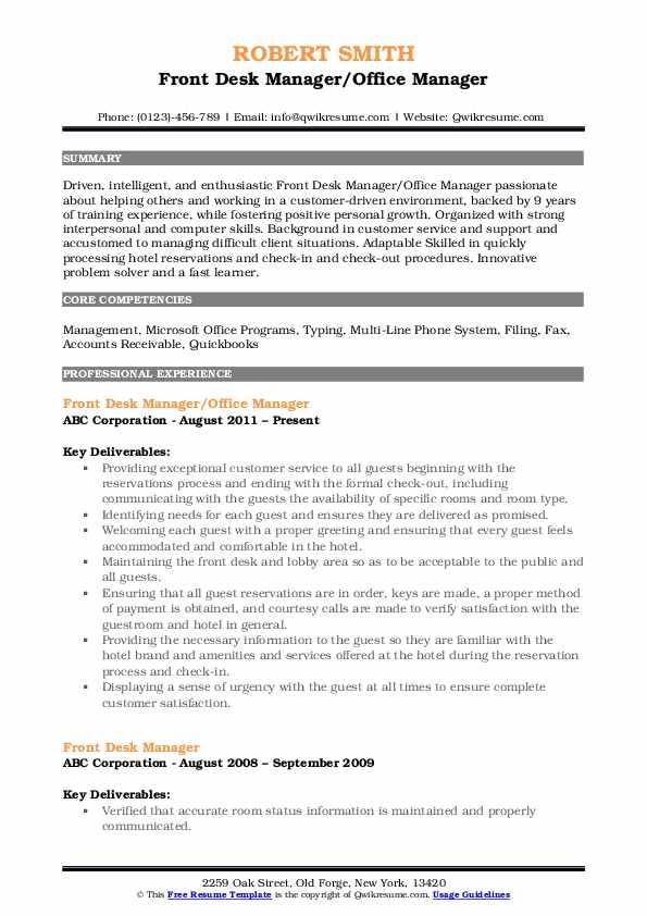 Front Desk Manager/Office Manager Resume Format