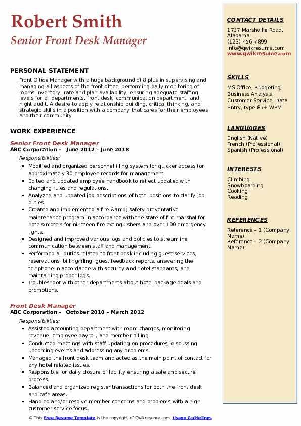 Senior Front Desk Manager Resume Sample