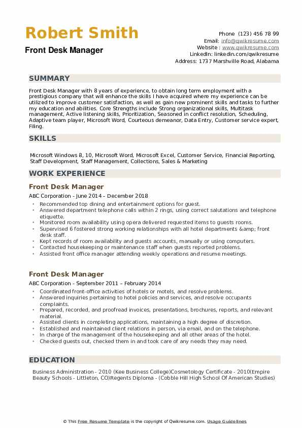 Front Desk Manager Resume example