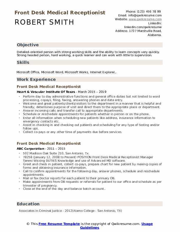 Front Desk Medical Receptionist Resume Example