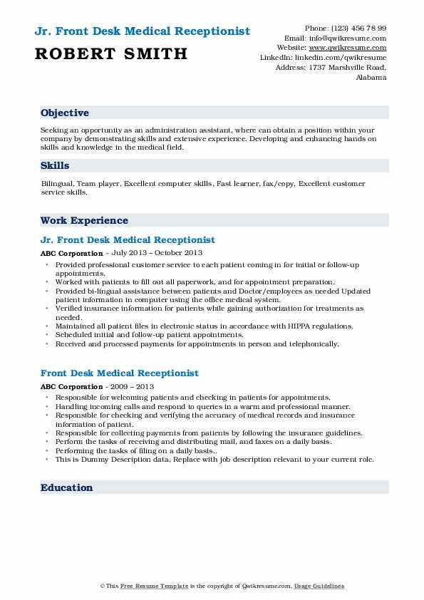 Jr. Front Desk Medical Receptionist Resume Model