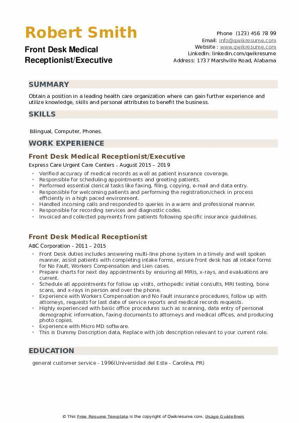 Front Desk Medical Receptionist/Executive Resume Example