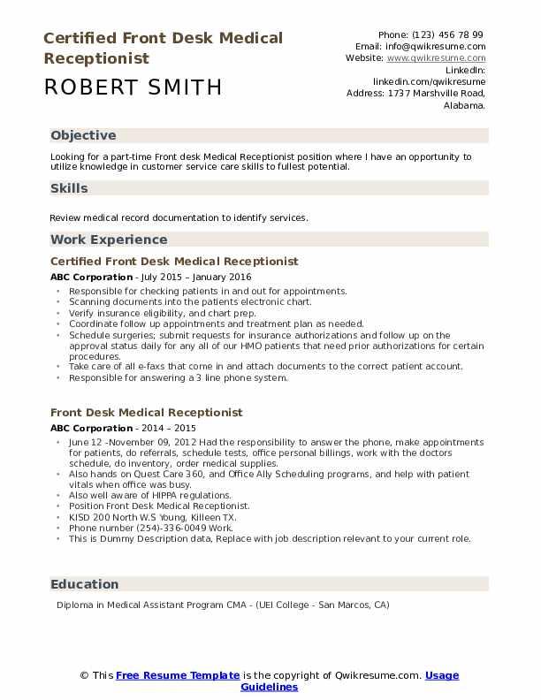 Certified Front Desk Medical Receptionist Resume Sample