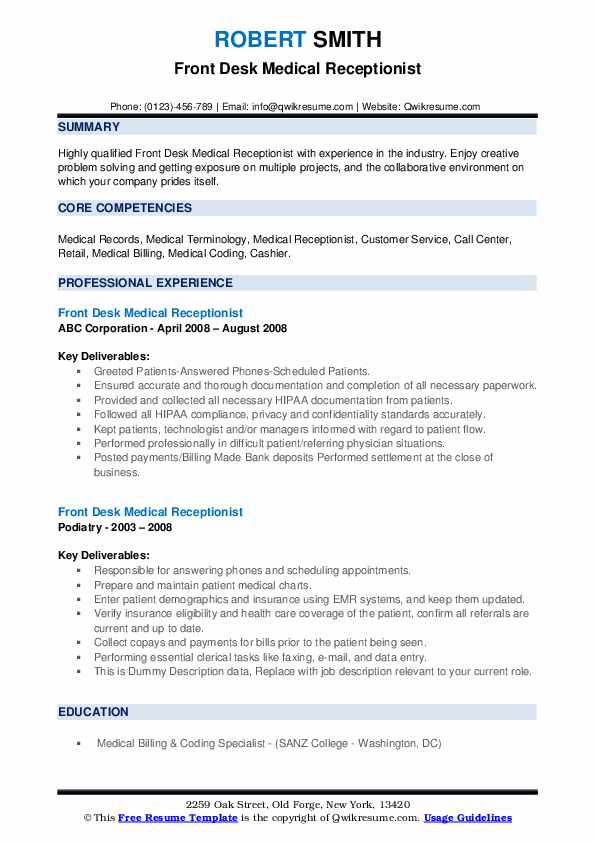 Front Desk Medical Receptionist Resume example