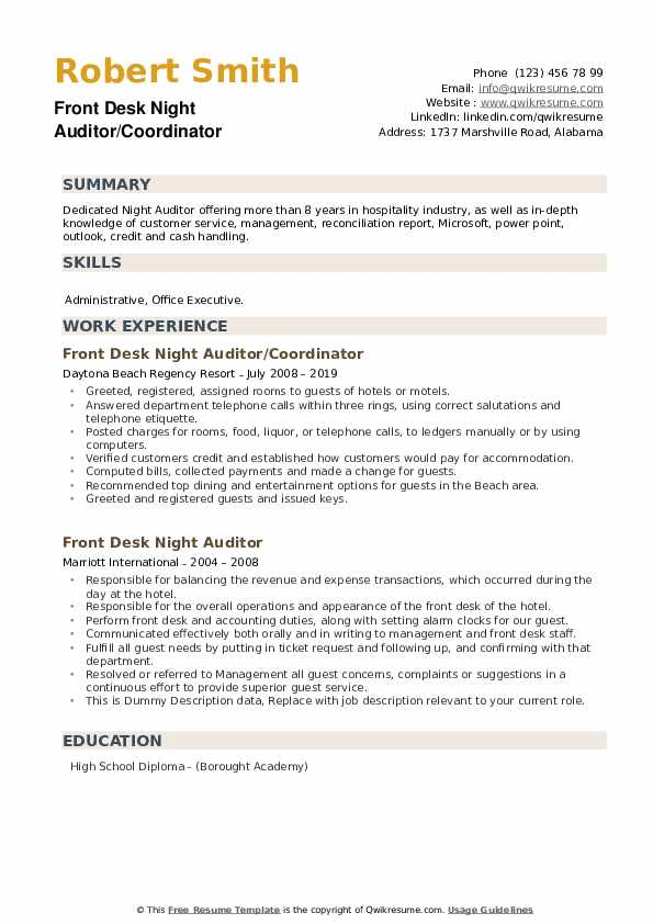 Front Desk Night Auditor Resume example