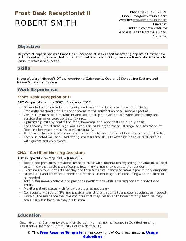 Front Desk Receptionist II Resume Model