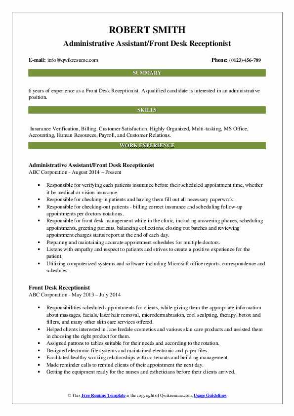 Administrative Assistant/Front Desk Receptionist Resume Example