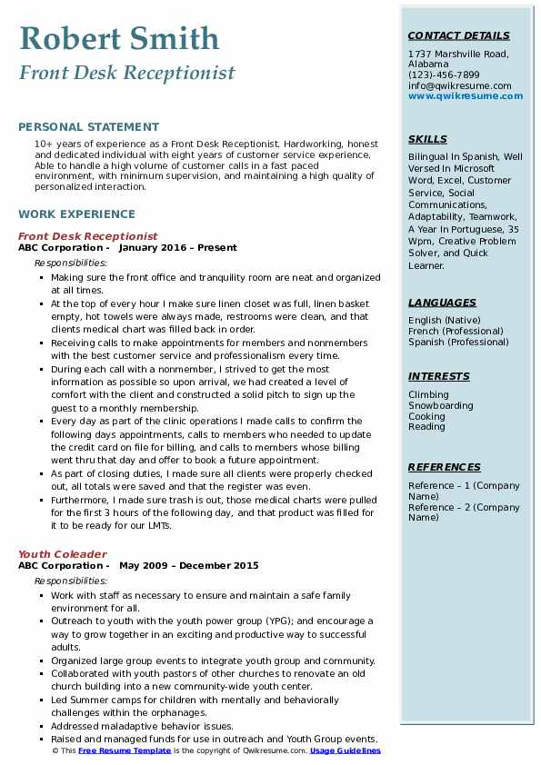 Front Desk Receptionist Resume Example