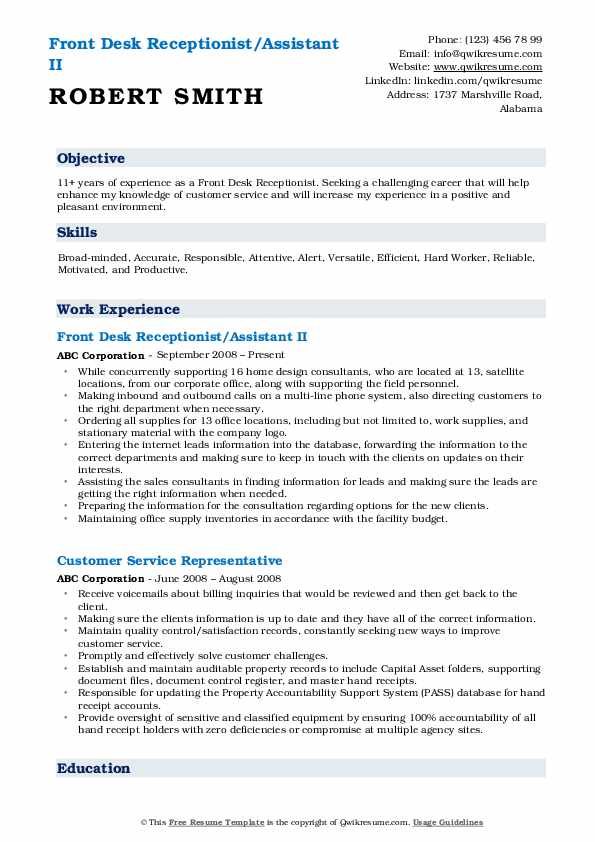 Front Desk Receptionist/Assistant II Resume Template