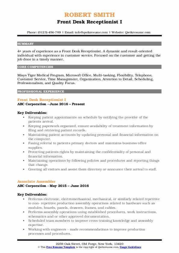 Front Desk Receptionist Resume Samples | QwikResume